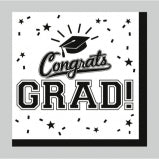 Graduation theme party beverage napkin, black