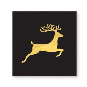 BLACK & GOLD REINDEER HOLIDAY Party NAPKIN