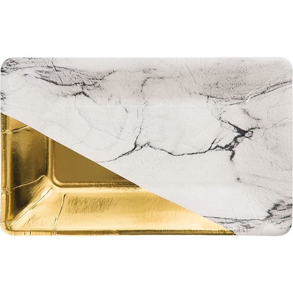 Black & White Marble Rectangular plate with gold foil corner