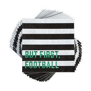 black and white striped napkins, football theme