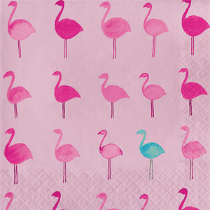 Pink luncheon napkin with flamingos in shades of pink as all over print with pops of turq flamingos