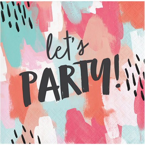 Beverage napkin with color strokes of pink, coral, teal, and white wit Let's party in black font