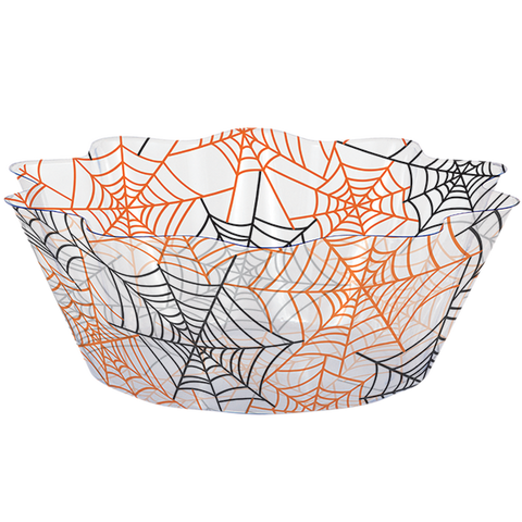 clear bowl with spider web print for Halloween party
