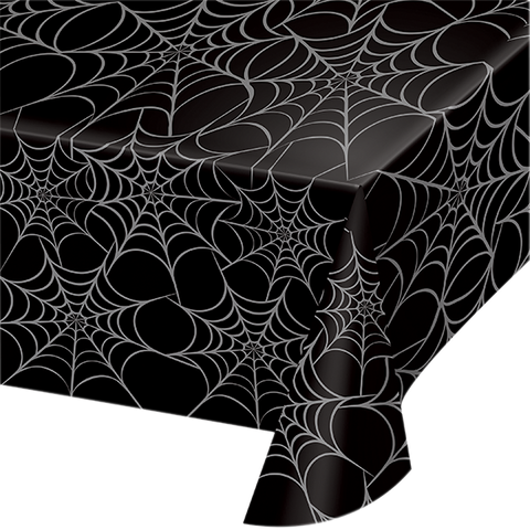 black plastic halloween table cloth with silver spider web all over print