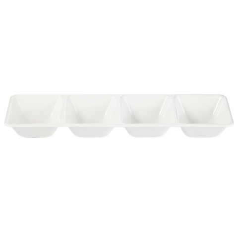 White serving tray with 4 compartments for multiple types of parties