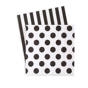 Black and white cocktail party napkin. One side black and white stripe second side is white with black polka dots