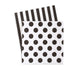 Paper Eskimo Black and white cocktail party napkin. One side black and white stripe second side is white with black polka dots