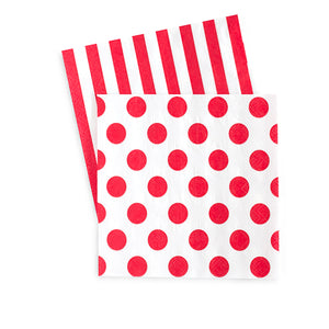 Red & White stripe beverage napkin with reverse side red polka dot