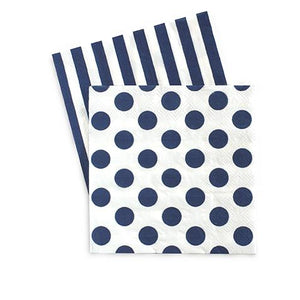 navy party napkin with blue dots on one side and blue stripes on the other side, perfect size to use with beverages or desserts