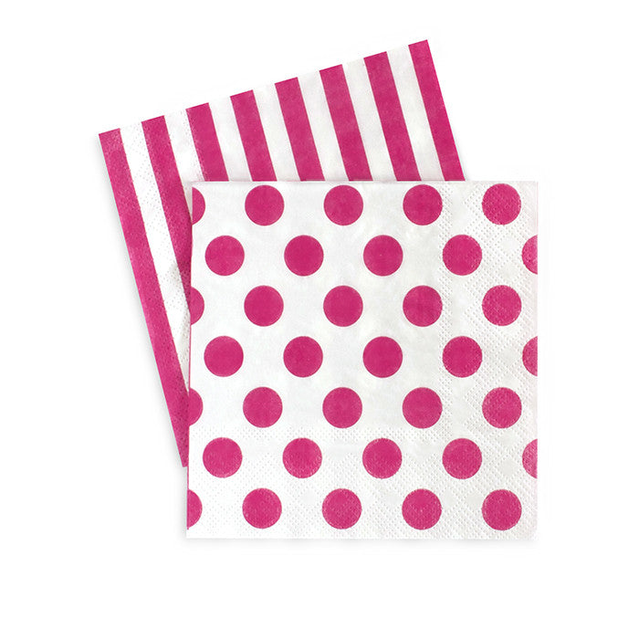 Paper Eskimo hot pink and white cocktail party napkin. One side pink and white stripe second side is white with pink polka dots