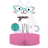 cat lover 3d party centerpiece features white cat with fun glasses and playful smile