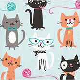 colorful cat beverage napkin