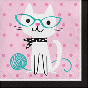 Pink cat style napkins, party
