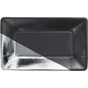 Dark charcoal grey with Silver corner rectangular plate