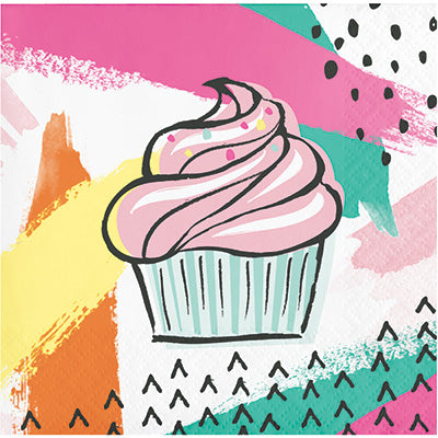 colorful cupcake beverage napkins, party