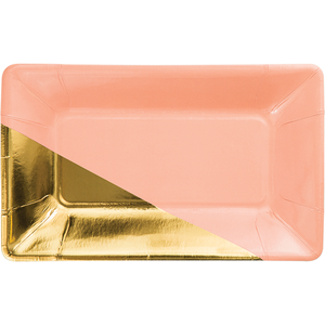 Coral rectangular plate with gold foil corner