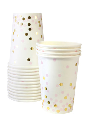 pink and gold confetti paper cups