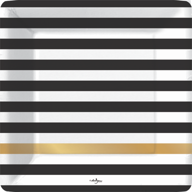 black and white horizontal stripe square plate with one gold foil stripe at lower portion