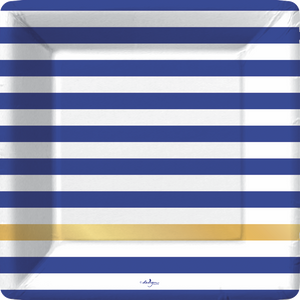 blue and white horizontal stripe square plate with one gold foil stripe at lower portion