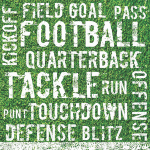 "Green napkin with football key words in white font, ""tackle"" Quarterback"" ""touchdown"" etc."