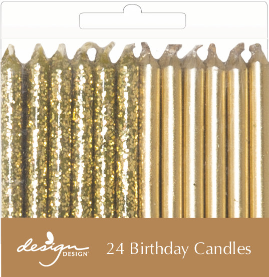 24 pack of gold birthday candles.  12 sparkle and 12 metallic gold shine