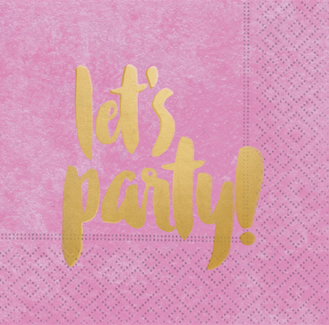 pink napkin with gold Let's Party! Font