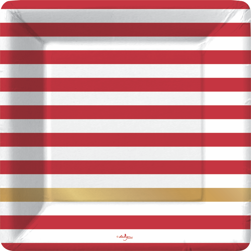 red and white horizontal stripe square plate with one gold foil stripe at lower portion