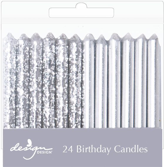 24 pack of silver birthday candles.  12 sparkle and 12 metallic silver shine