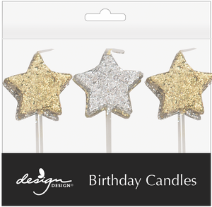 3 silver star candles on white picks and 3 gold star candles on white picks