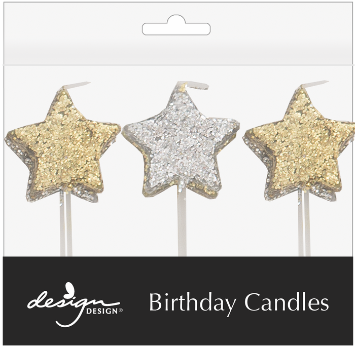 Sparkle Star Birthday Candles