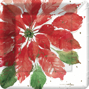 White dessert or appetizer size square plate with large red poinsettia and a few small green leaves