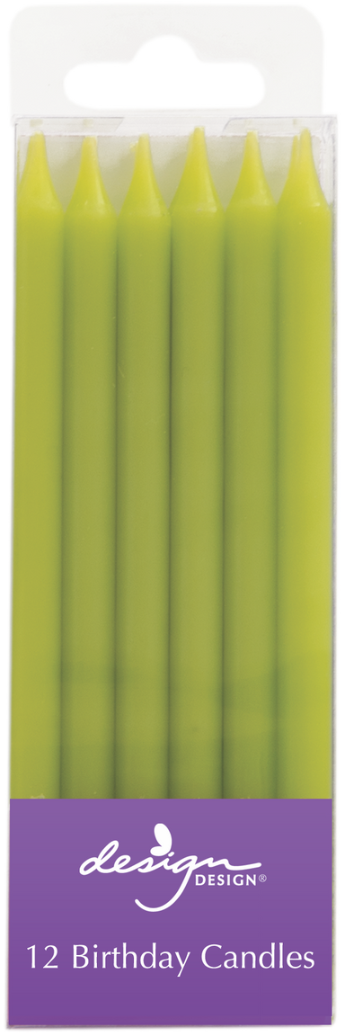 12 lime green slim candles