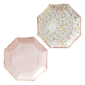plate packs include ditsy floral print plate trimmed in rose gold and pale pink dot plate trimmed in rose gold