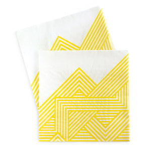 Paper Eskimo hello yellow napkin features a geo stripe pattern in bright yellow color