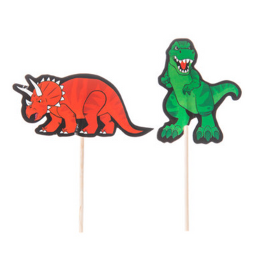 Red and green, Dinosaur Party Pick, cupcake topper