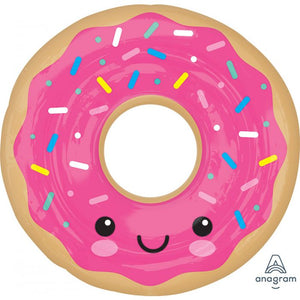 Large donut balloon with pink sprinkle and fun pal smile face | Food party | party supplies