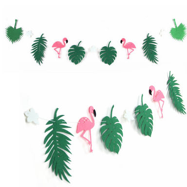 Tropical flamingo party banner