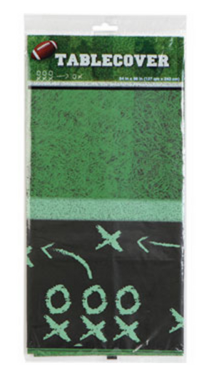 green football field grass inspired table cloth with black football playbook border - football party supplies