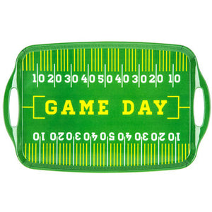 Melamine football serving tray handles, game day letters across center and white field markings
