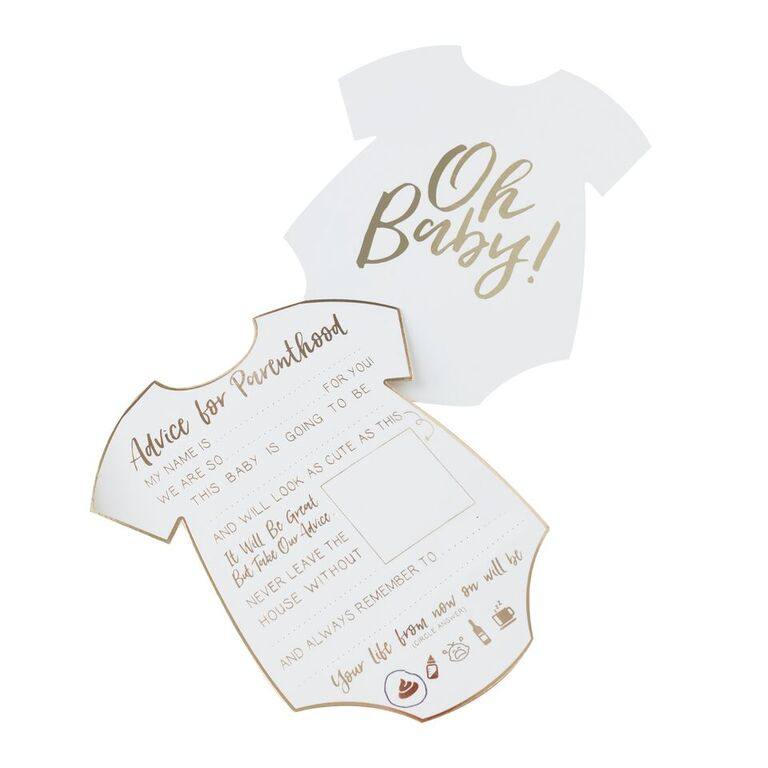 WHITE & GOLD GENDER NEUTRAL BABY ADVICE CARDS