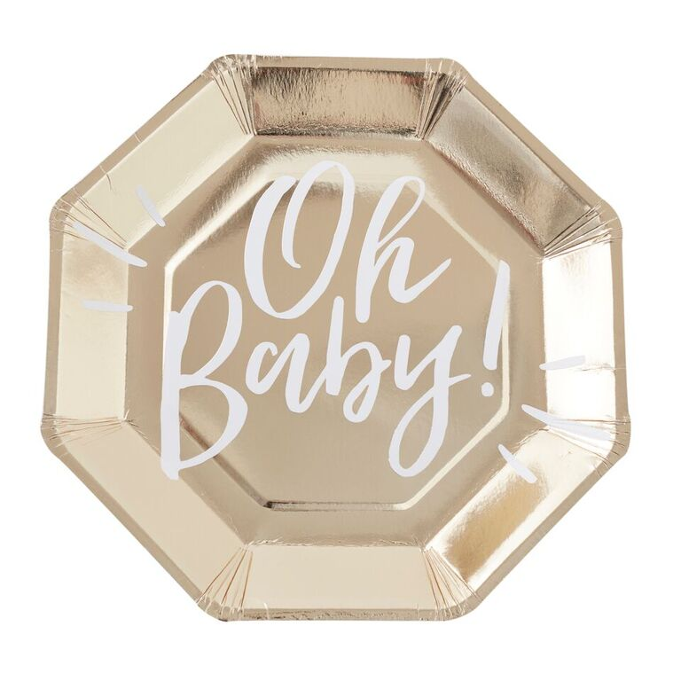 gold party plate: oh baby!