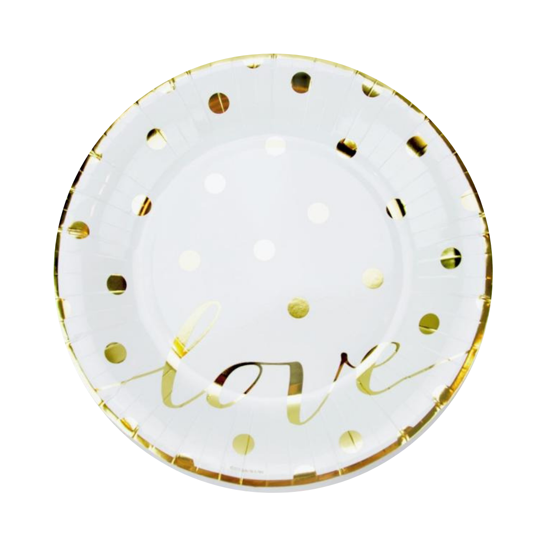 Plate trimmed in gold foil with gold metallic polka dots and love script