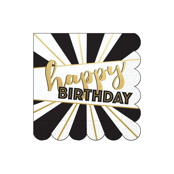 Golden Black & White Birthday Napkin