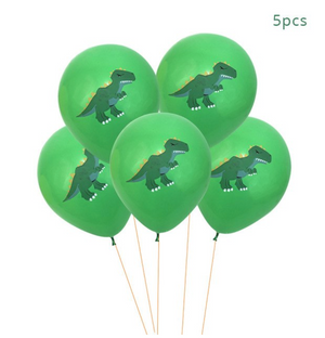 green dinosaur latex balloons, 5 per package