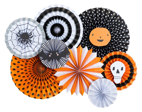 Black, orange, and white print halloween party fans - halloween party decor