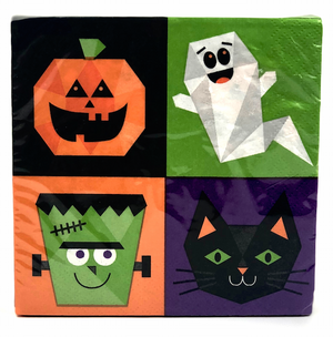 halloween party napkin with pumpkin face, ghost, monster, and cat | Halloween party decorations