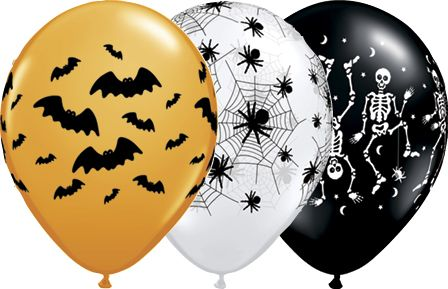 Halloween-assorted-orange-white-and-black-balloons-with-halloween-bat-spider-and-skeleton-patterns