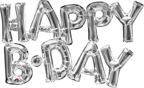 Happy Bday splet out in silver foil letter balloon