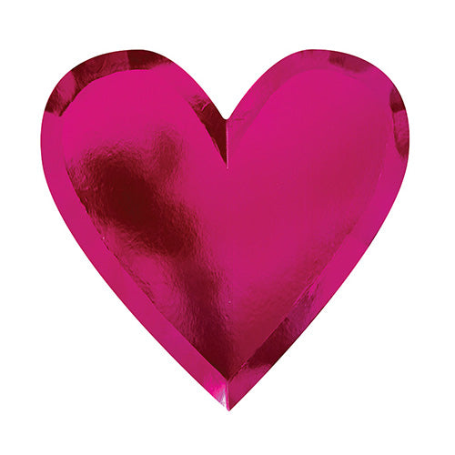 Metallic Pink heart shaped plate in a deep pink shimmery metallic, valentine's day, bachelorette party supplies
