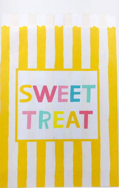 yellow and white stripe sweet treats paper party favor bags